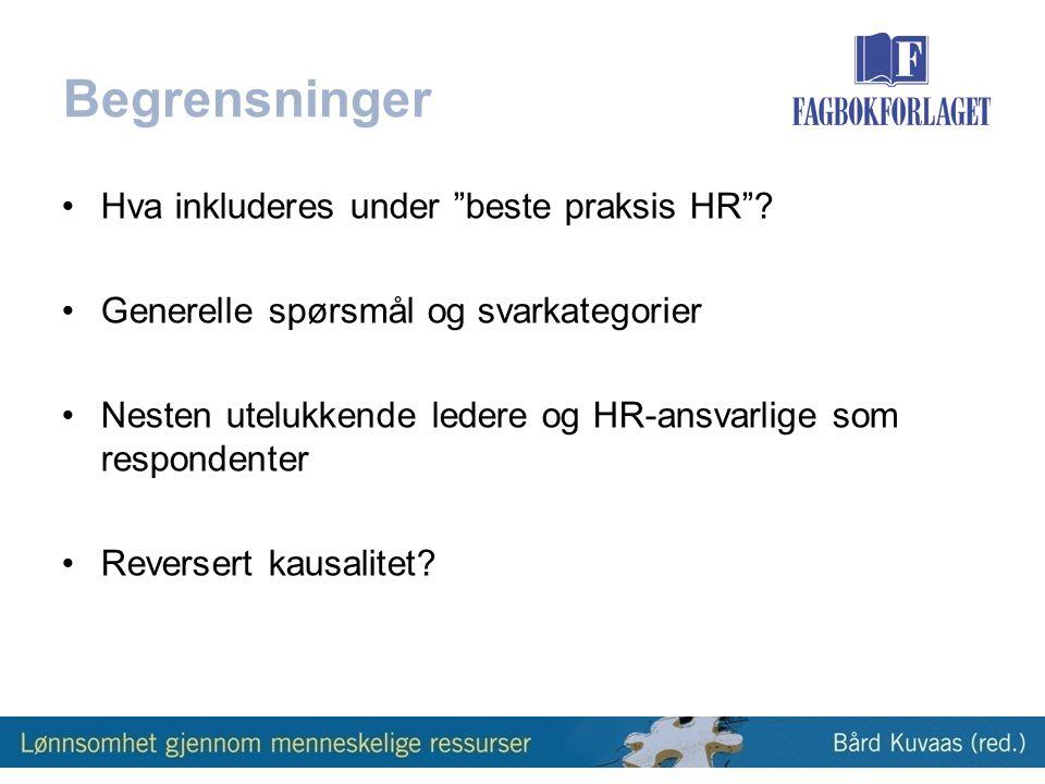 Begrensninger Hva inkluderes under beste praksis HR