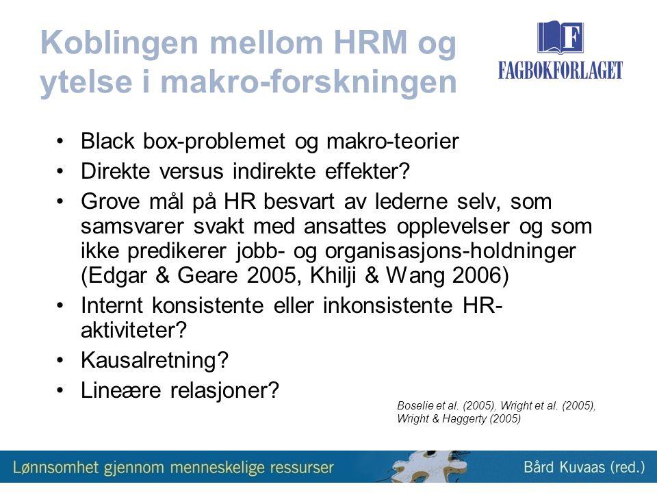 Koblingen mellom HRM og ytelse i makro-forskningen