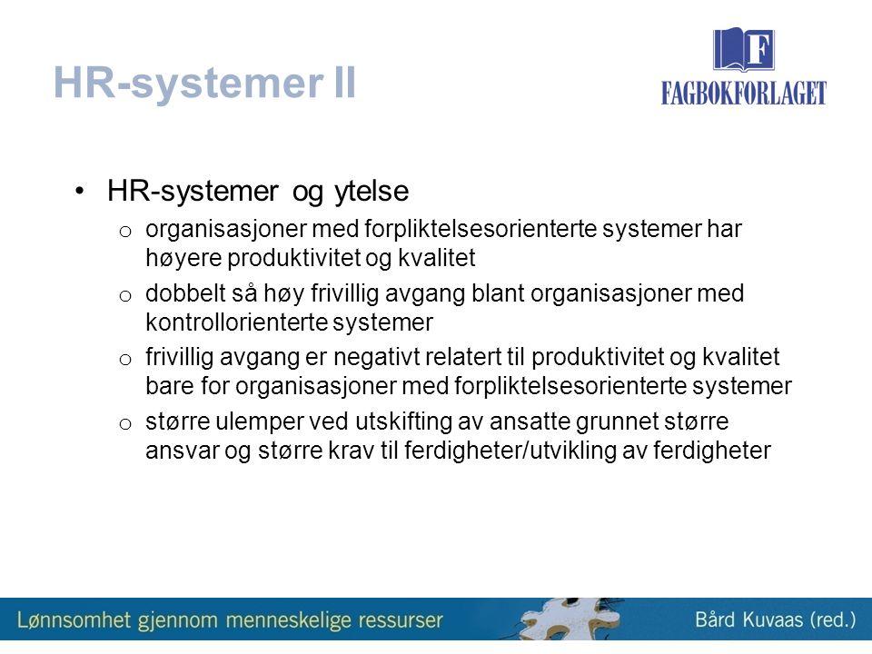 HR-systemer II HR-systemer og ytelse