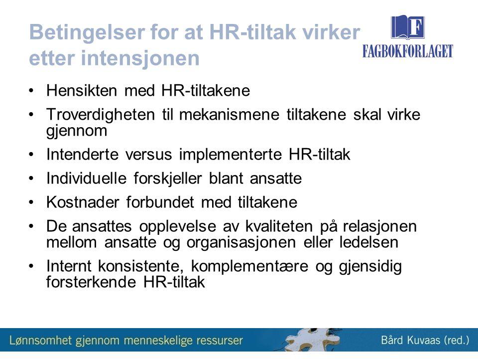 Betingelser for at HR-tiltak virker etter intensjonen