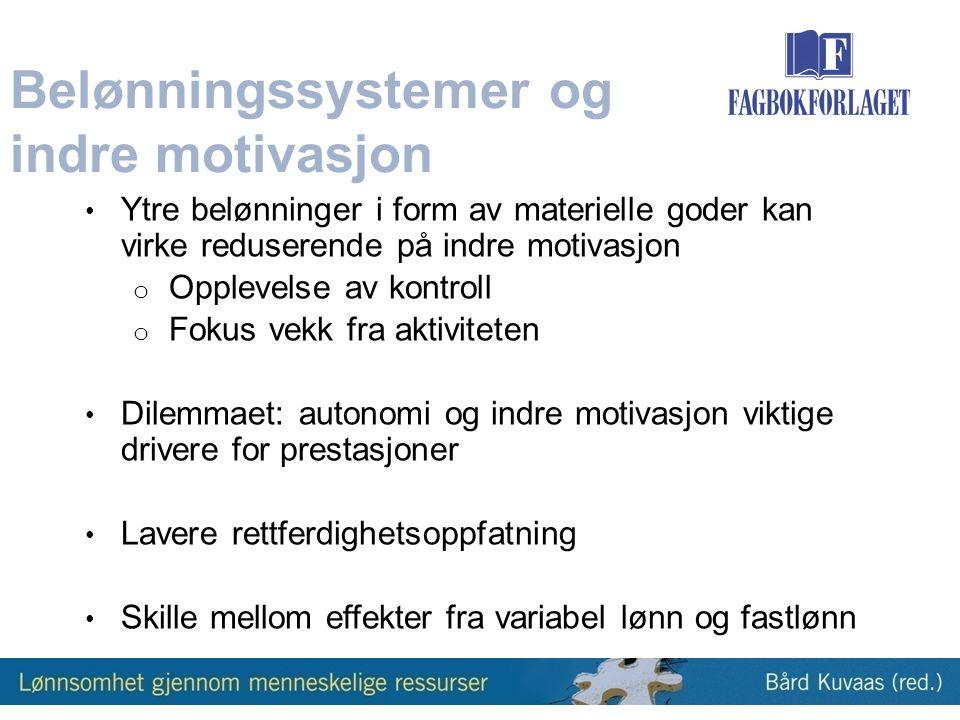 Belønningssystemer og indre motivasjon