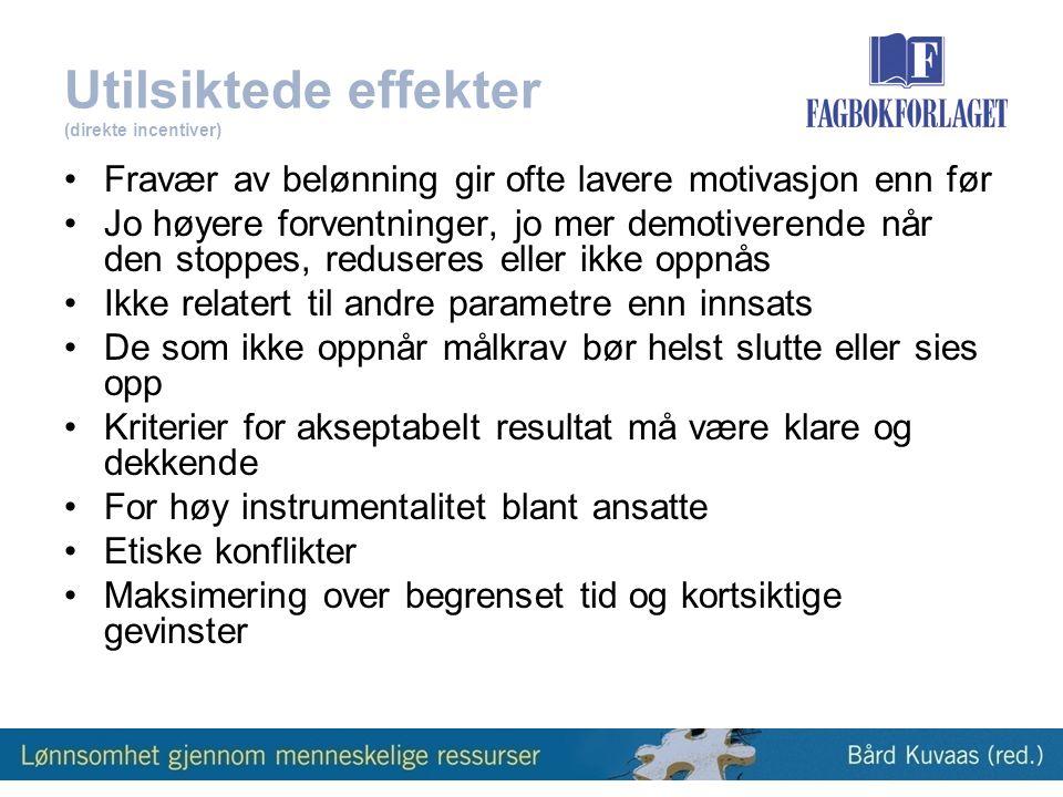 Utilsiktede effekter (direkte incentiver)
