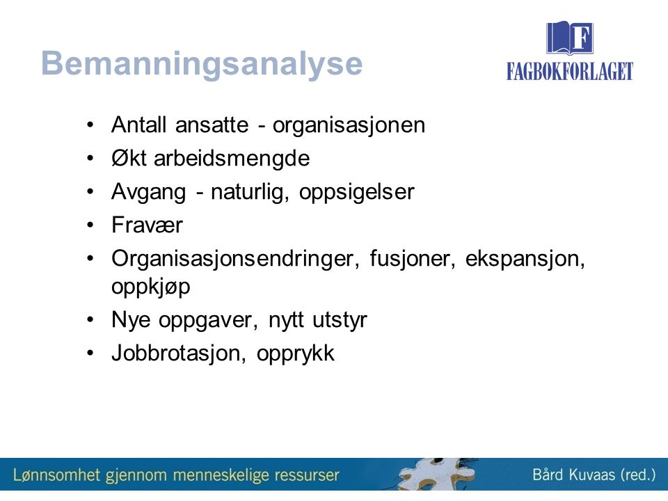 Bemanningsanalyse Antall ansatte - organisasjonen Økt arbeidsmengde