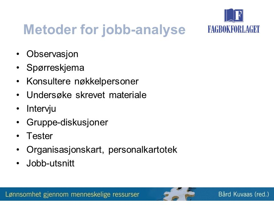 Metoder for jobb-analyse