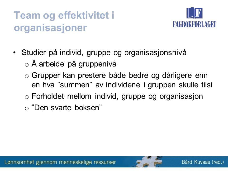 Team og effektivitet i organisasjoner