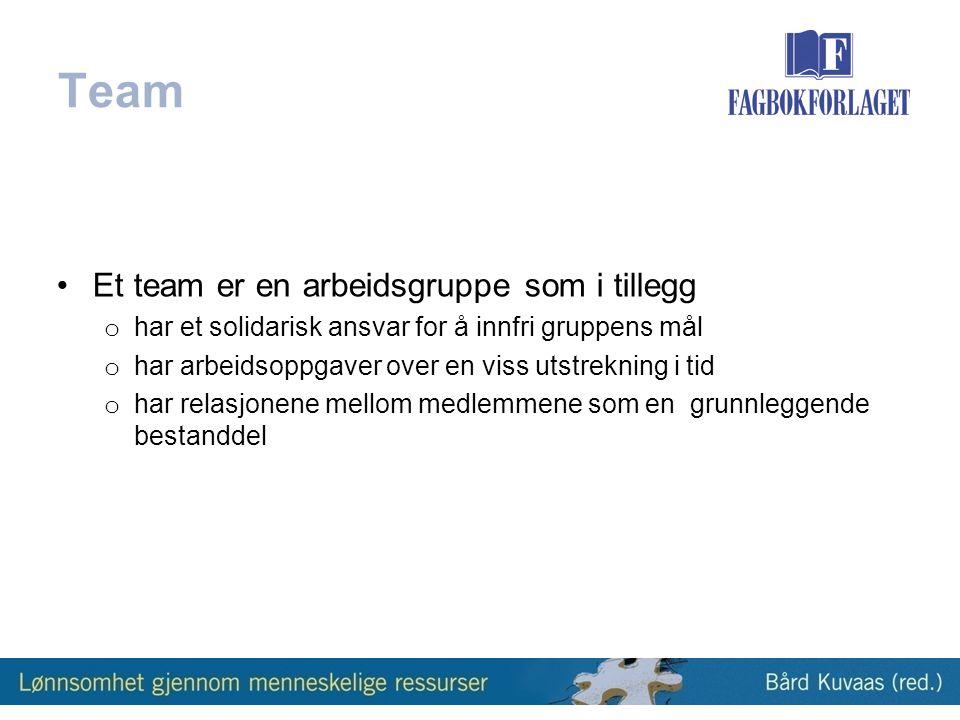 Team Et team er en arbeidsgruppe som i tillegg