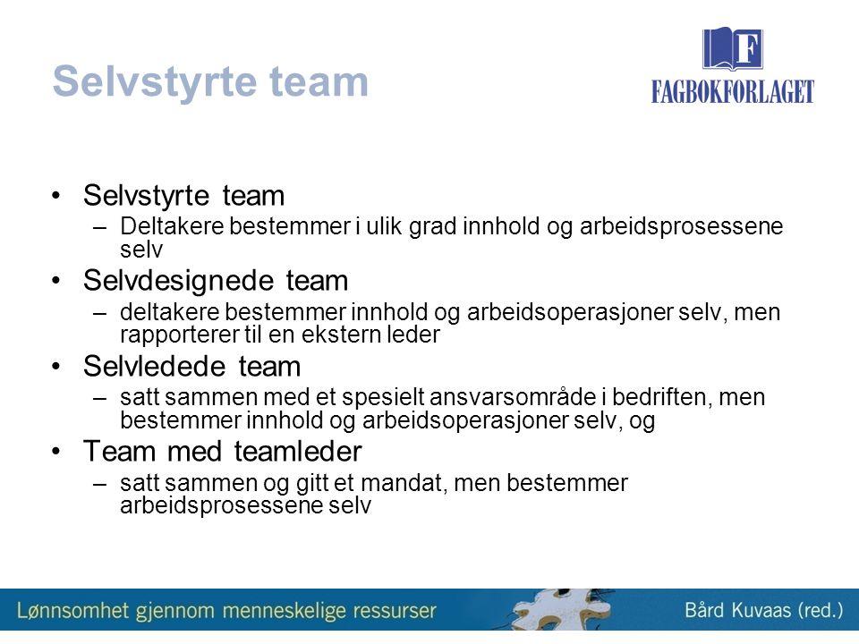 Selvstyrte team Selvstyrte team Selvdesignede team Selvledede team