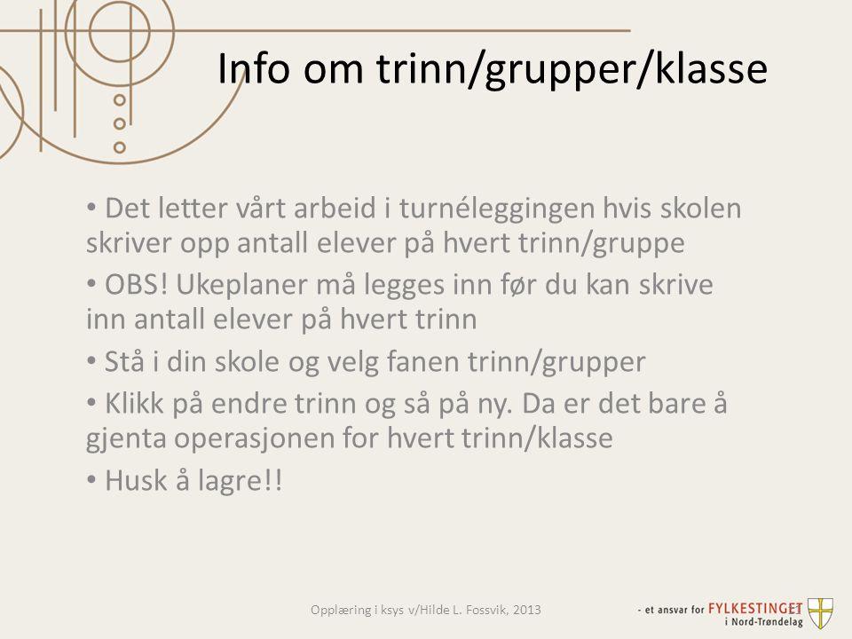 Info om trinn/grupper/klasse
