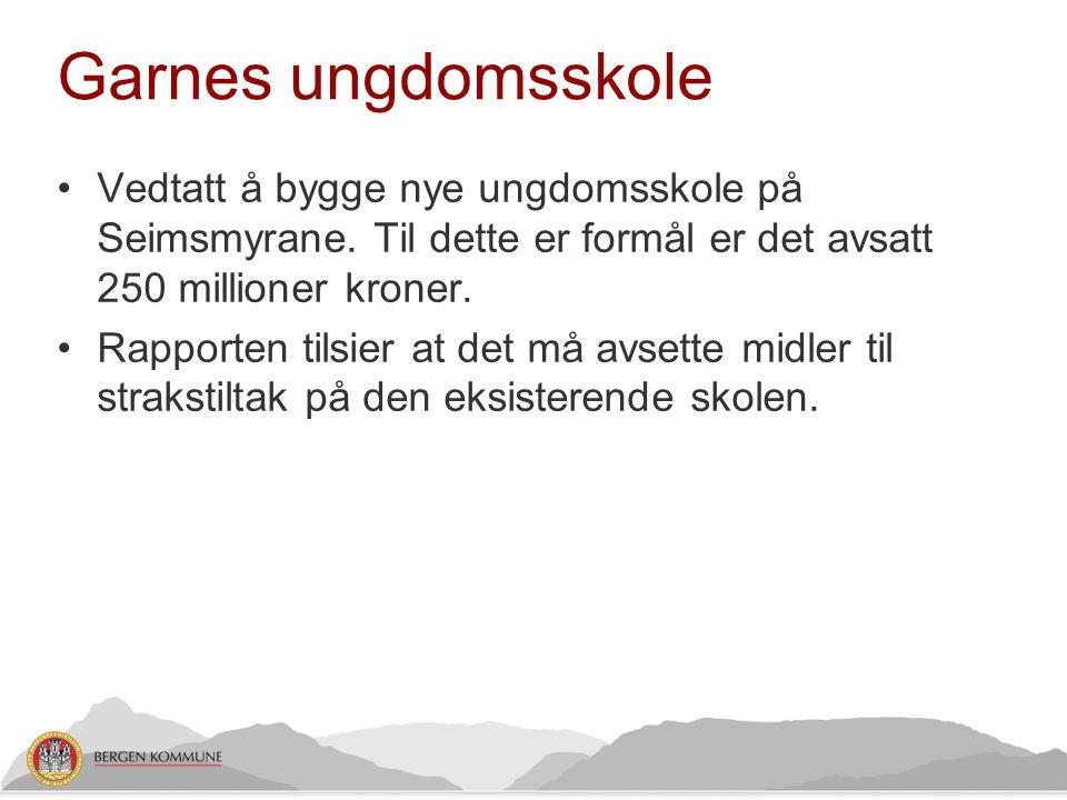 Garnes ungdomsskole Vedtatt å bygge nye ungdomsskole på Seimsmyrane. Til dette er formål er det avsatt 250 millioner kroner.