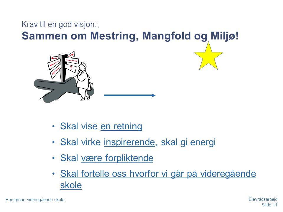 Krav til en god visjon:; Sammen om Mestring, Mangfold og Miljø!