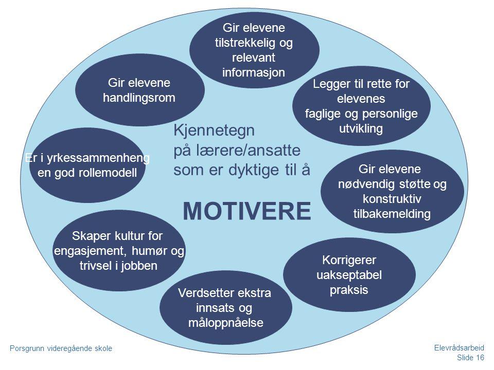MOTIVERE Kjennetegn på lærere/ansatte som er dyktige til å Gir elevene