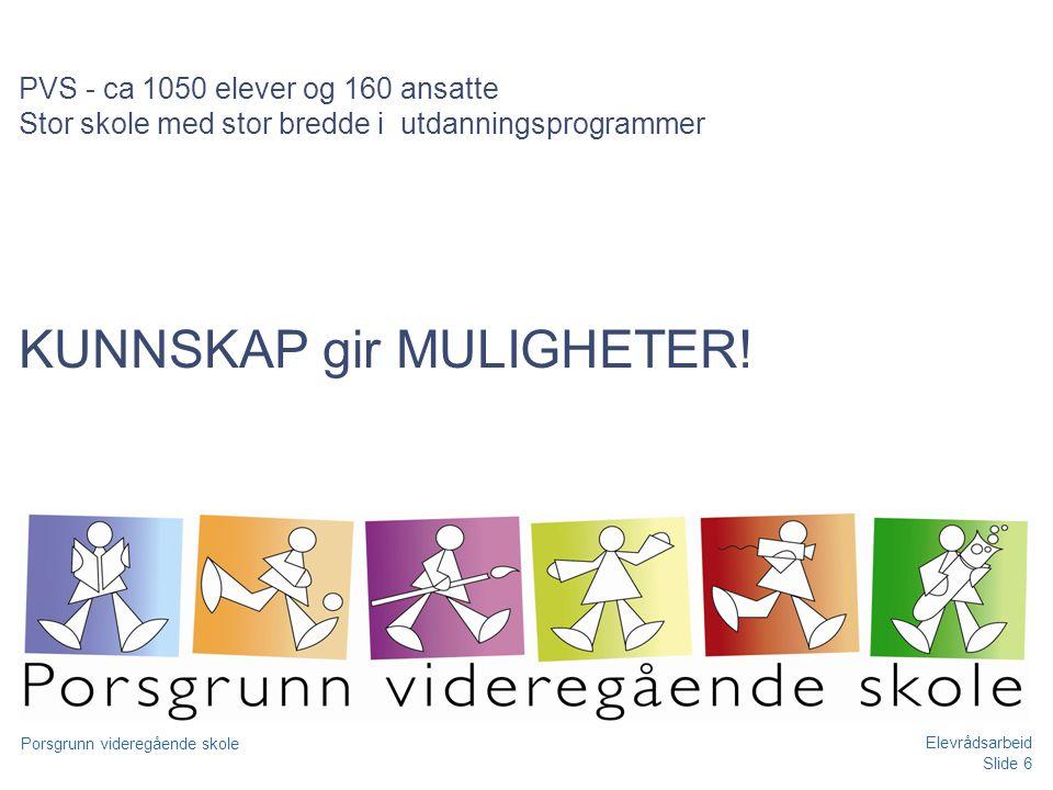 PVS - ca 1050 elever og 160 ansatte Stor skole med stor bredde i utdanningsprogrammer KUNNSKAP gir MULIGHETER!
