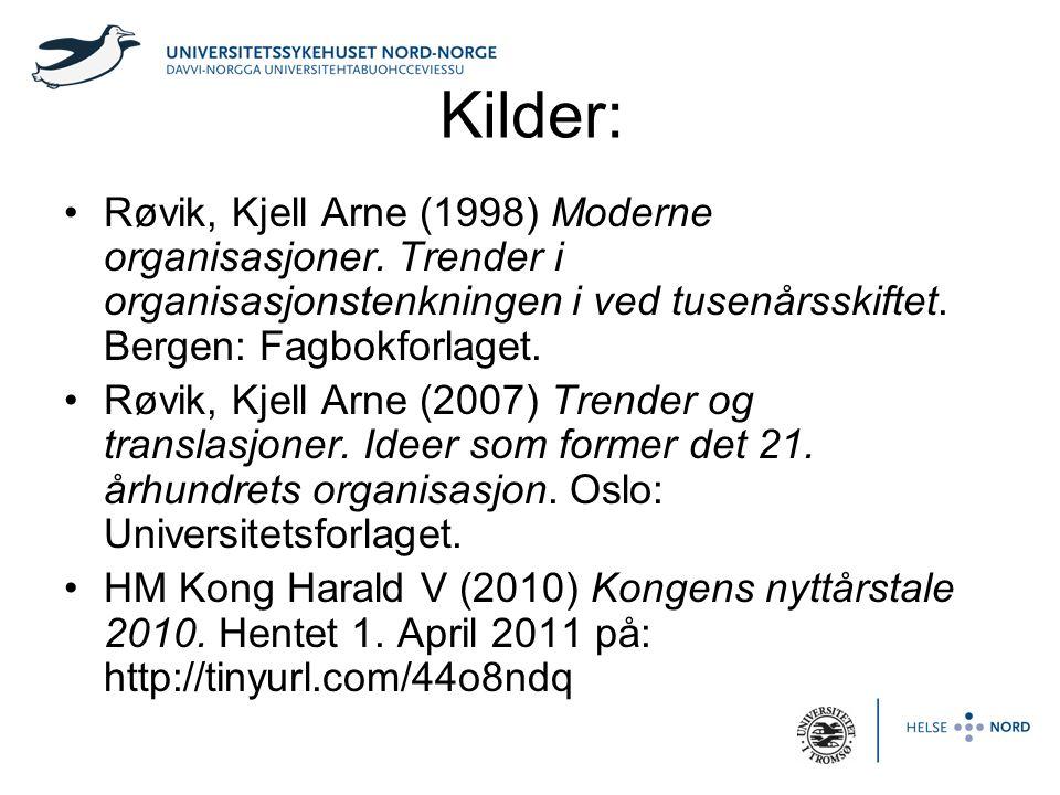 Kilder: Røvik, Kjell Arne (1998) Moderne organisasjoner. Trender i organisasjonstenkningen i ved tusenårsskiftet. Bergen: Fagbokforlaget.