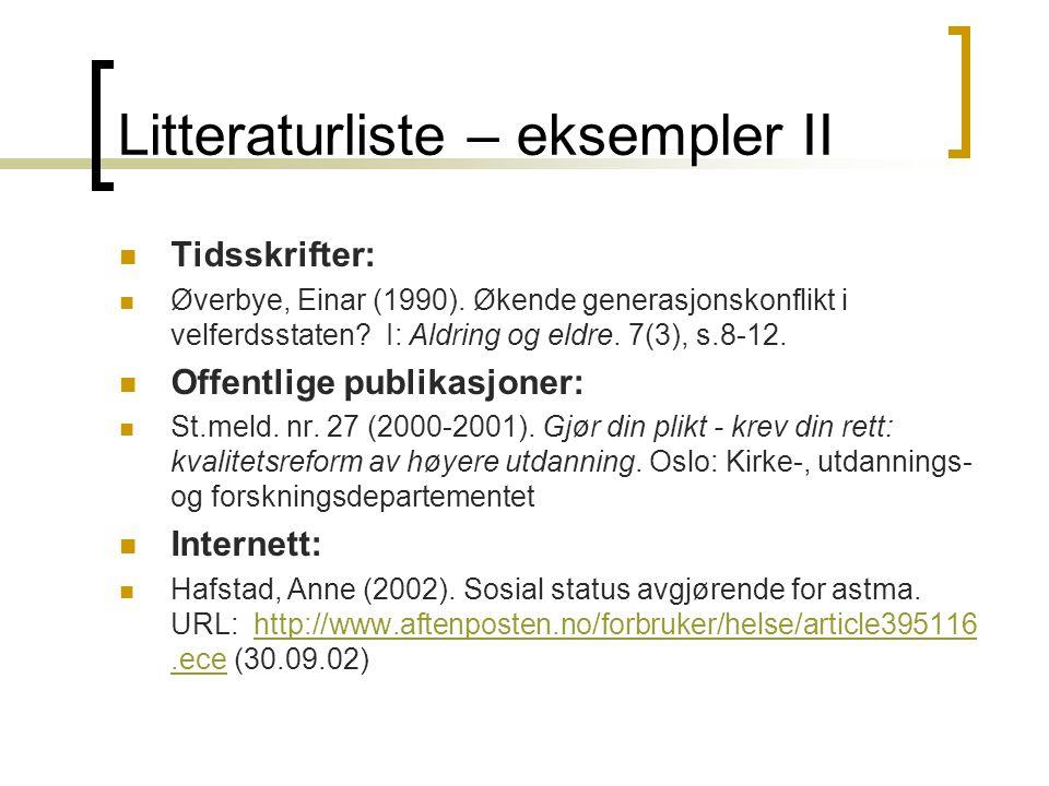 Litteraturliste – eksempler II