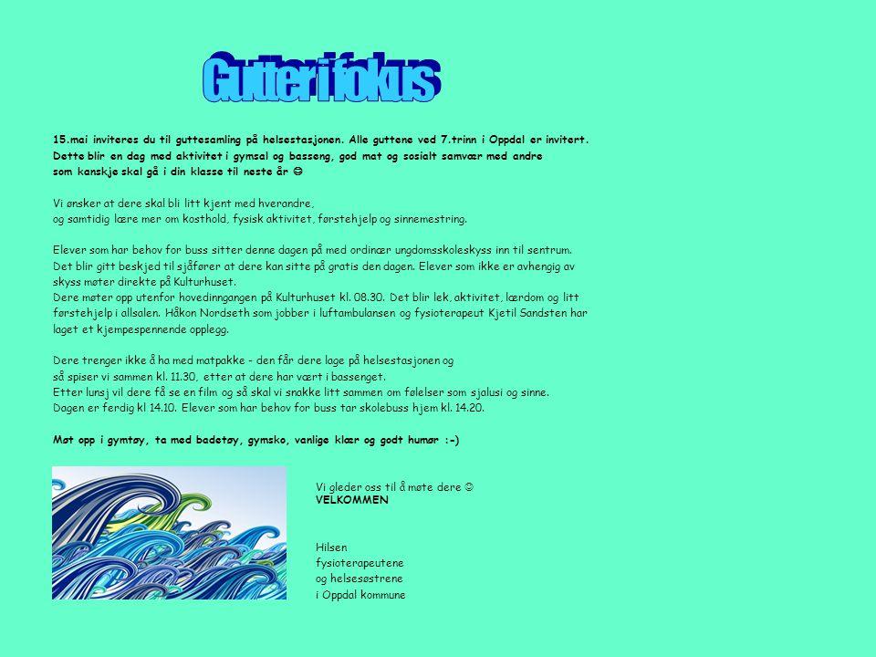 Gutter i fokus 15.mai inviteres du til guttesamling på helsestasjonen. Alle guttene ved 7.trinn i Oppdal er invitert.
