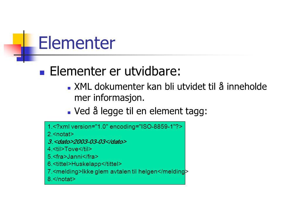 Elementer Elementer er utvidbare: