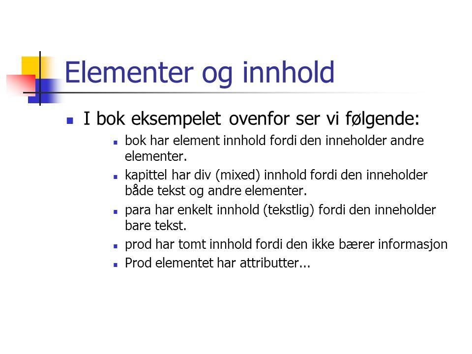 Elementer og innhold I bok eksempelet ovenfor ser vi følgende: