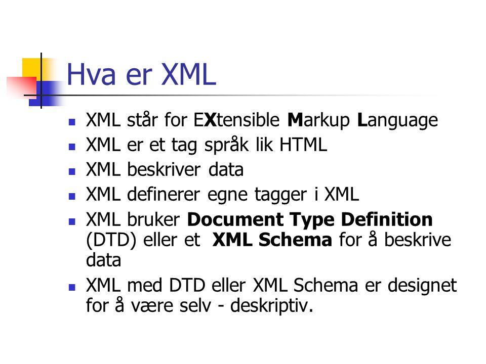 Hva er XML XML står for EXtensible Markup Language