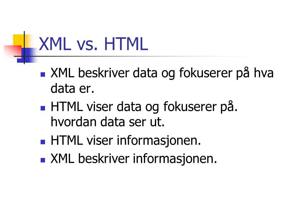 XML vs. HTML XML beskriver data og fokuserer på hva data er.