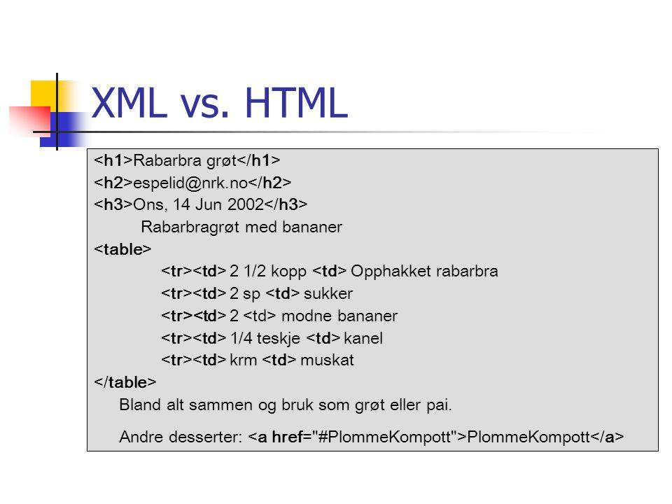 XML vs. HTML <h1>Rabarbra grøt</h1>