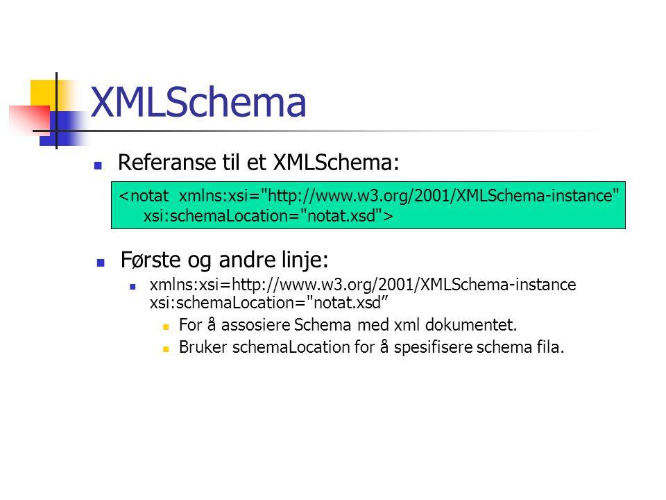 XMLSchema Referanse til et XMLSchema: Første og andre linje: