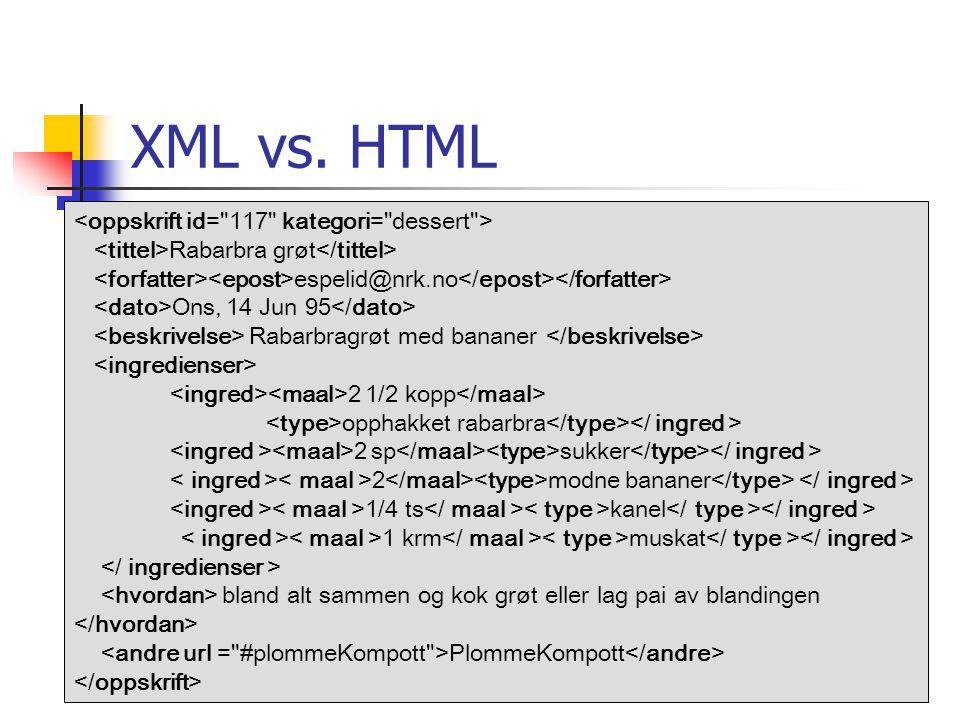 XML vs. HTML <oppskrift id= 117 kategori= dessert >