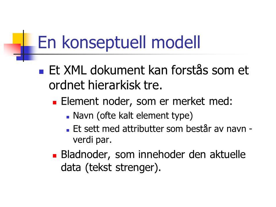 En konseptuell modell Et XML dokument kan forstås som et ordnet hierarkisk tre. Element noder, som er merket med: