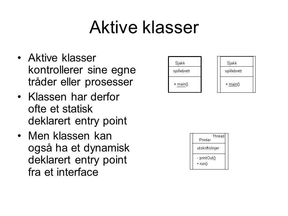 Aktive klasser Aktive klasser kontrollerer sine egne tråder eller prosesser. Klassen har derfor ofte et statisk deklarert entry point.