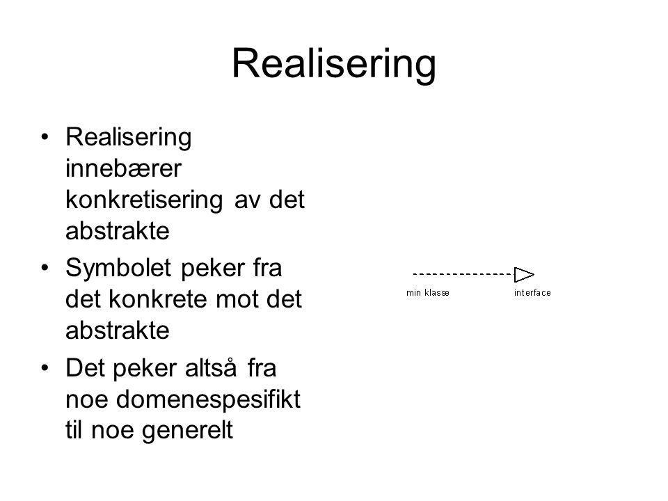 Realisering Realisering innebærer konkretisering av det abstrakte
