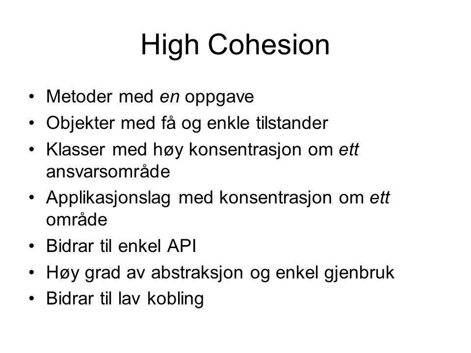 High Cohesion Metoder med en oppgave