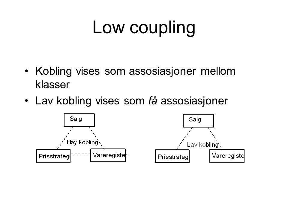 Low coupling Kobling vises som assosiasjoner mellom klasser