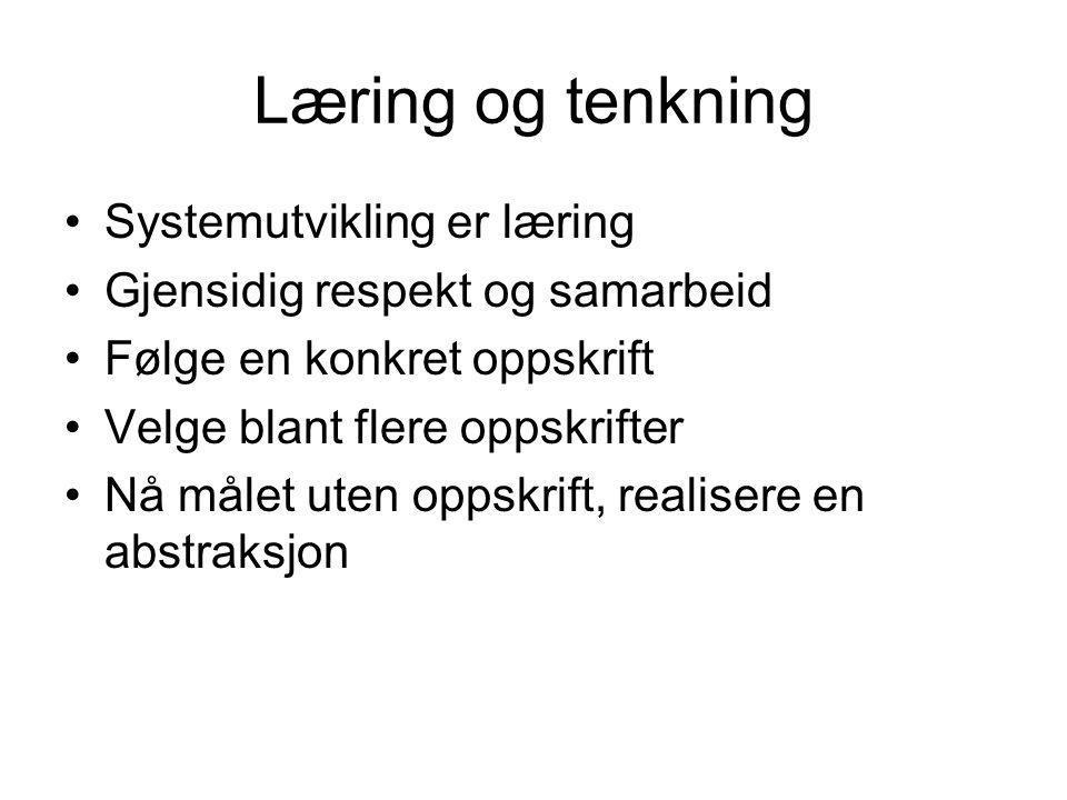 Læring og tenkning Systemutvikling er læring
