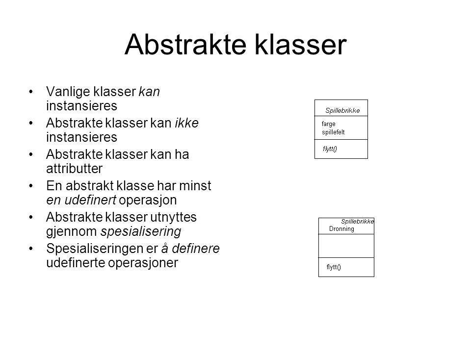 Abstrakte klasser Vanlige klasser kan instansieres