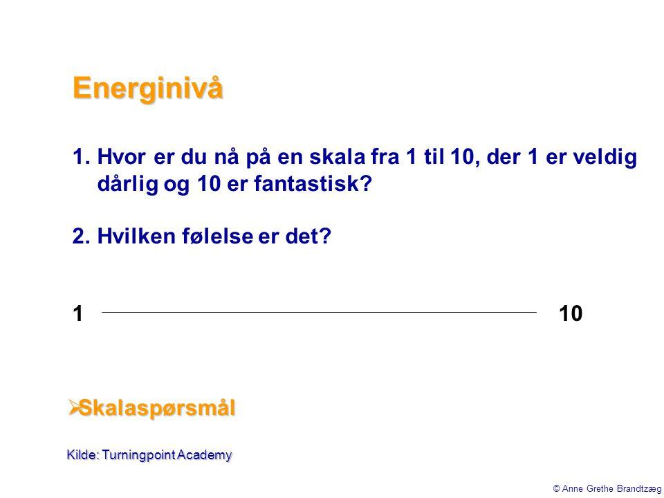 Energinivå Hvor er du nå på en skala fra 1 til 10, der 1 er veldig dårlig og 10 er fantastisk Hvilken følelse er det