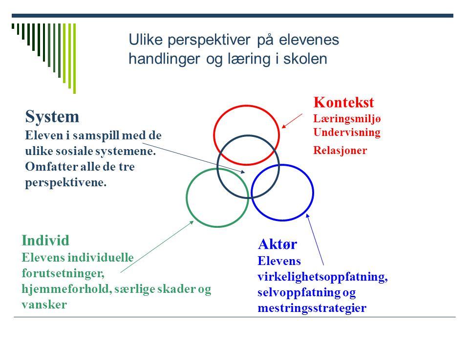 System Ulike perspektiver på elevenes handlinger og læring i skolen