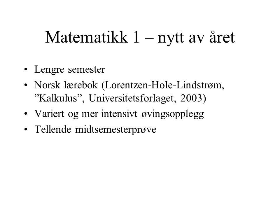 Matematikk 1 – nytt av året