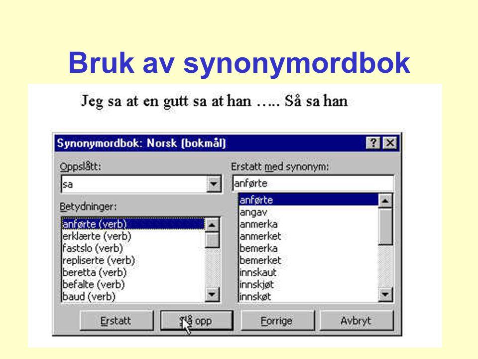 Bruk av synonymordbok