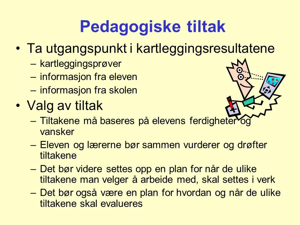 Pedagogiske tiltak Ta utgangspunkt i kartleggingsresultatene
