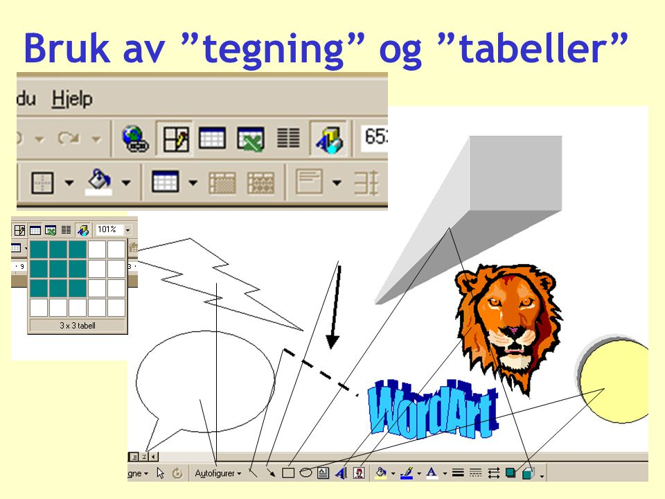 Bruk av tegning og tabeller
