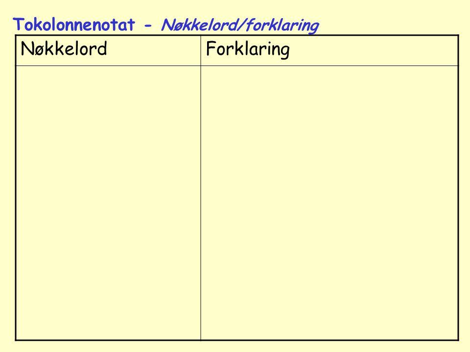Nøkkelord Forklaring Tokolonnenotat - Nøkkelord/forklaring