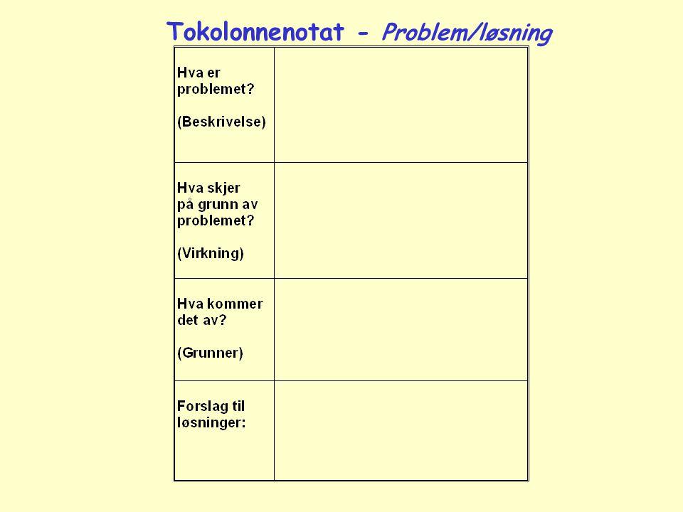 Tokolonnenotat - Problem/løsning