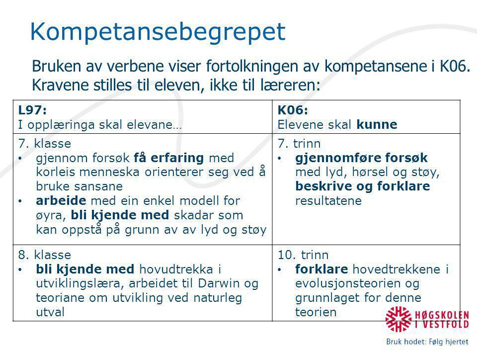Kompetansebegrepet Bruken av verbene viser fortolkningen av kompetansene i K06. Kravene stilles til eleven, ikke til læreren:
