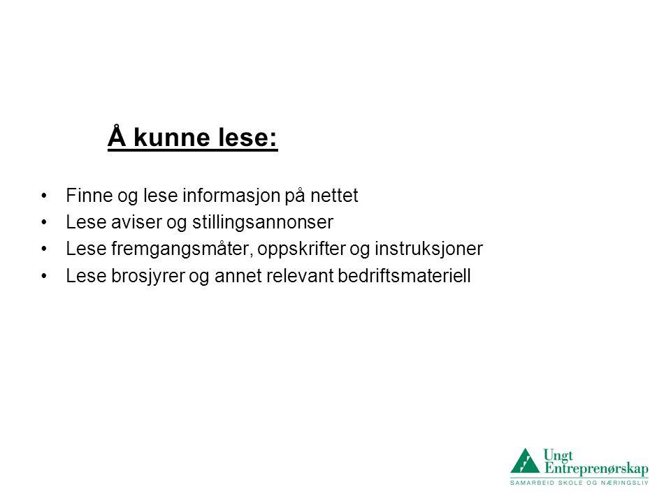 Å kunne lese: Finne og lese informasjon på nettet