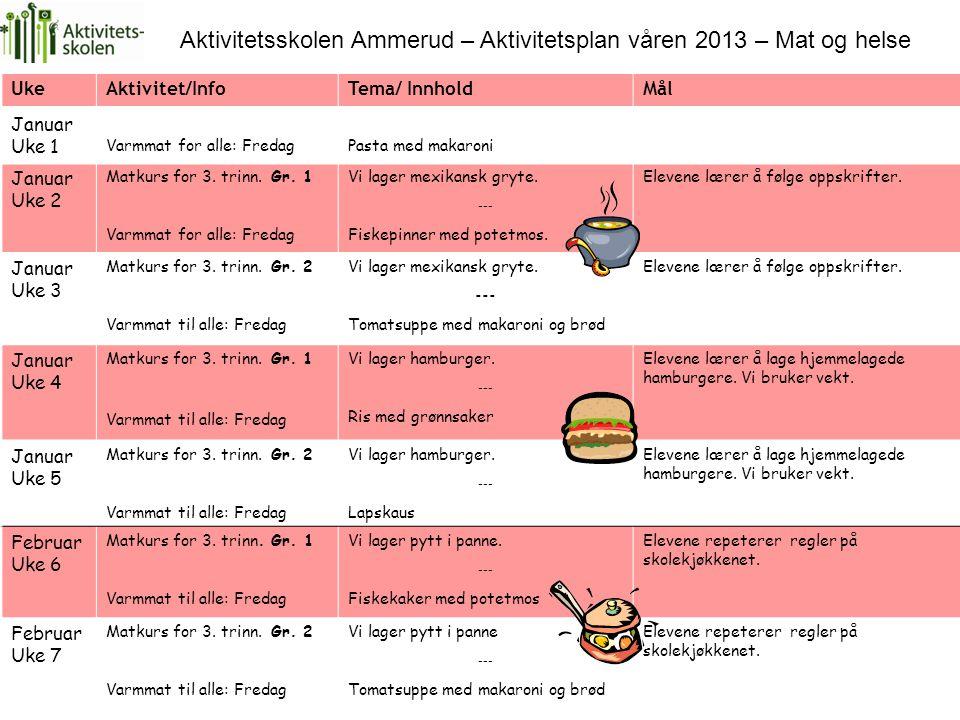 Aktivitetsskolen Ammerud – Aktivitetsplan våren 2013 – Mat og helse