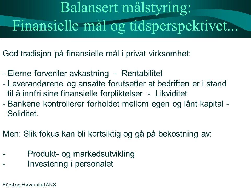 Balansert målstyring: Finansielle mål og tidsperspektivet...