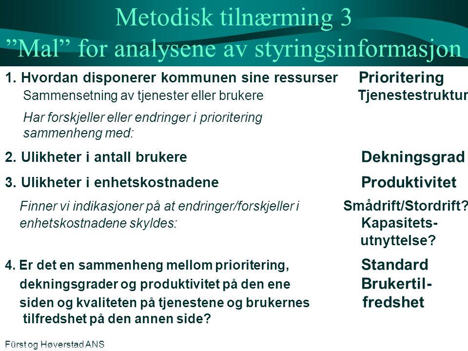 Metodisk tilnærming 3 Mal for analysene av styringsinformasjon