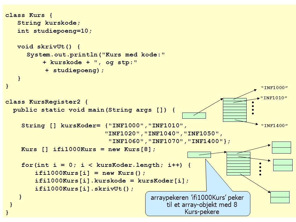 arraypekeren 'ifi1000Kurs' peker til et array-objekt med 8 Kurs-pekere