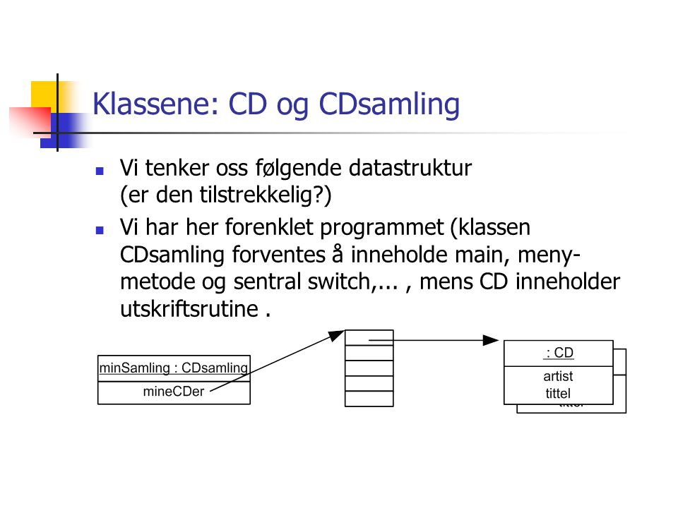 Klassene: CD og CDsamling