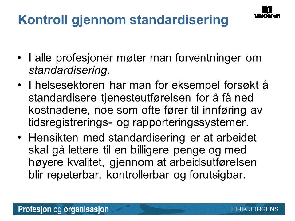 Kontroll gjennom standardisering