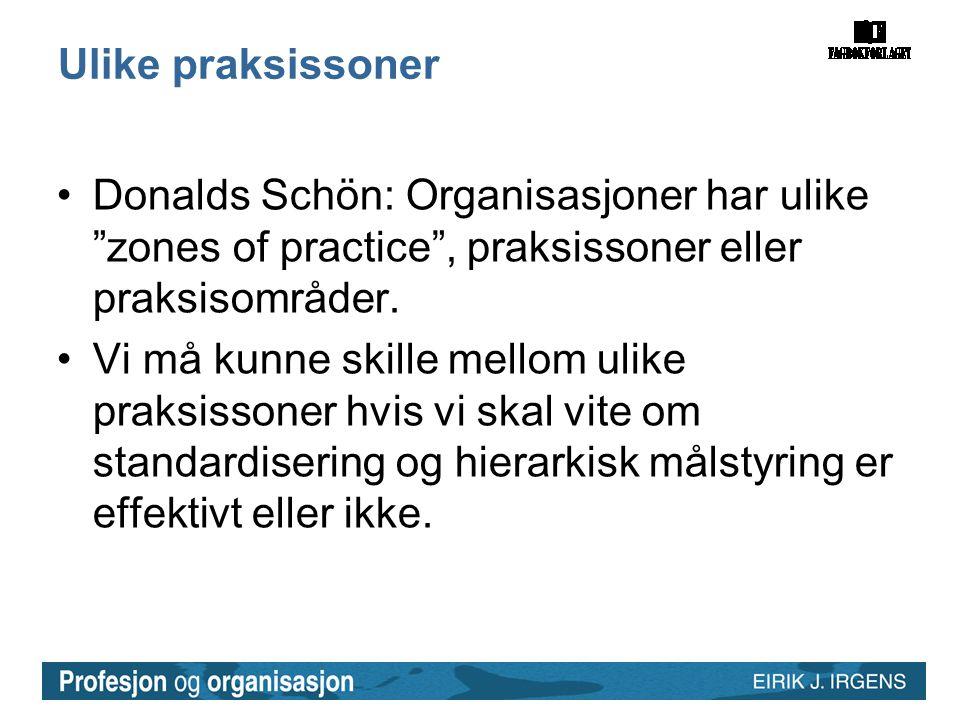 Ulike praksissoner Donalds Schön: Organisasjoner har ulike zones of practice , praksissoner eller praksisområder.